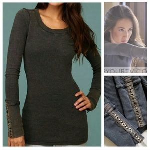 Free People studded thermal waffle shirt top blous